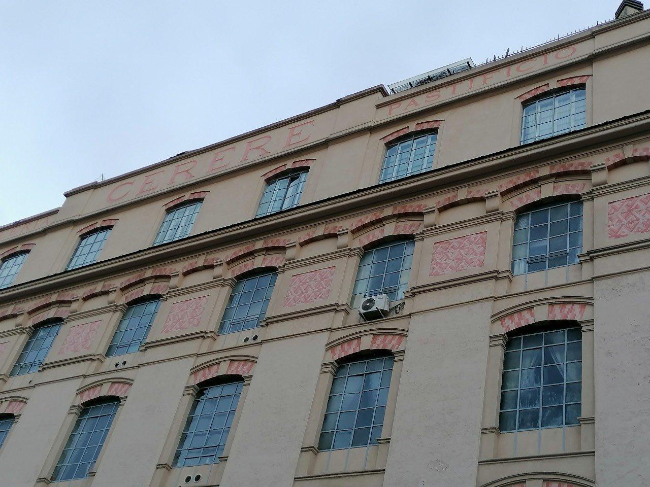 Roma, quartiere San Lorenzo. La facciata del Pastificio Cerere